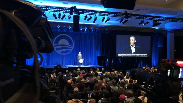 [CHI] Obama Surprises Crowd at Presidential Center Meeting