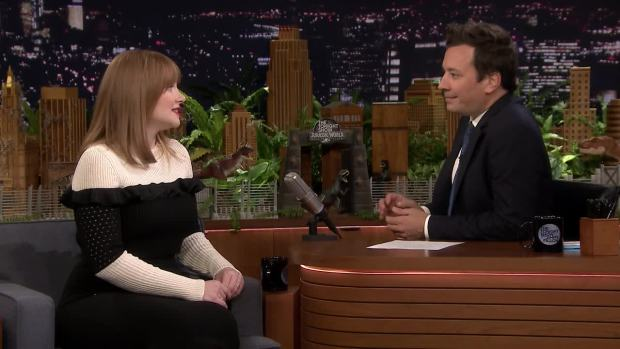 [NATL] 'Tonight': Bryce Dallas Howard Fainted From Fear While Filming 'Jurassic World: Fallen Kingdom'