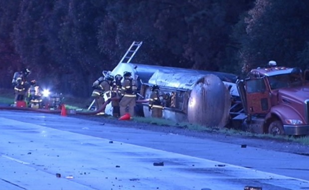 Tanker Truck Crashes with Sports Car, Spills Gasoline Into Llagas Creek in Morgan Hill