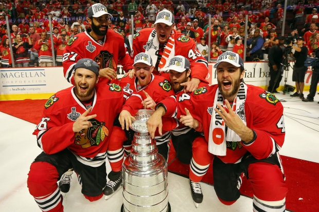 Blackhawks Celebrate On Ice After Stanley Cup Win