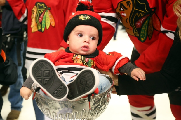 Blackhawks Players' Adorable Babies Pose With Stanley Cup