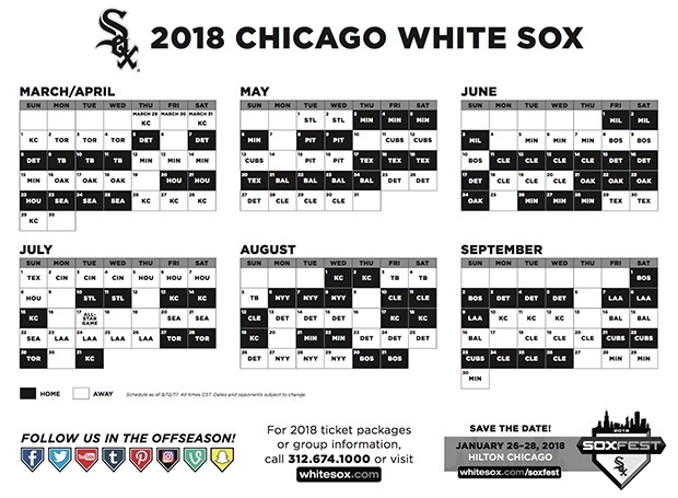 picture about Printable Cubs Schedule identified as View the 2018 Schedules for the Cubs and White Sox - NBC Chicago
