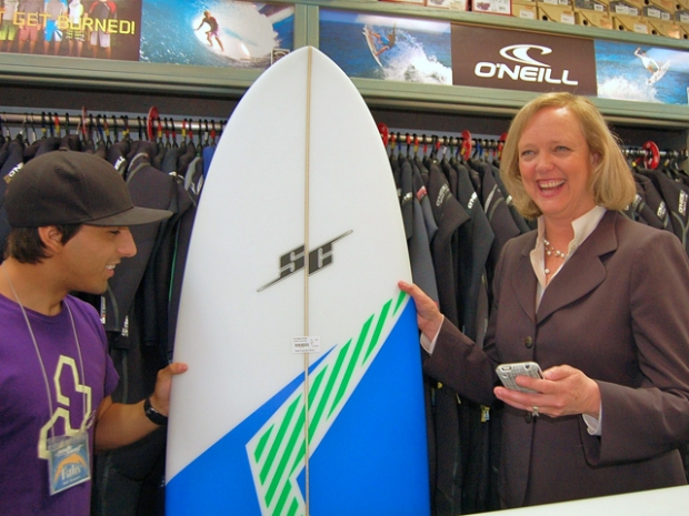 Meg Whitman Buys Surfboard in OB