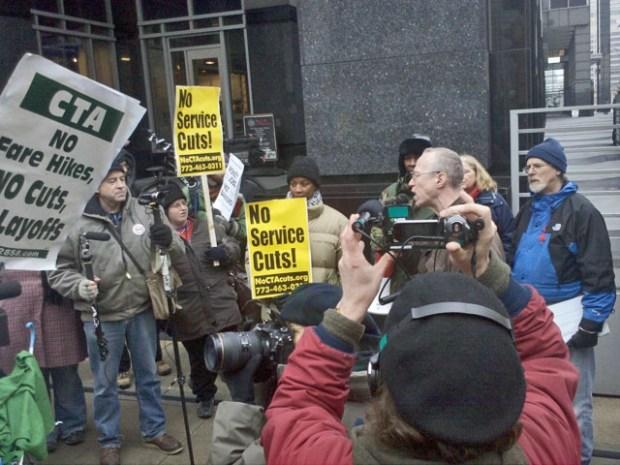 [CHI] Dozens Protest Funding Cuts Affecting CTA, Schools