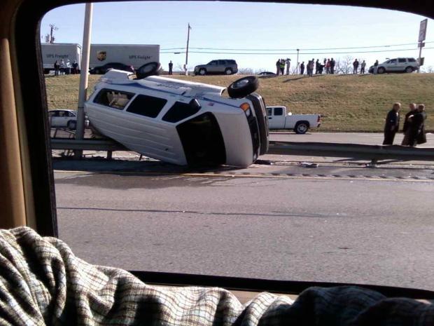 Prisoner Van Rolls Over on Loop 820