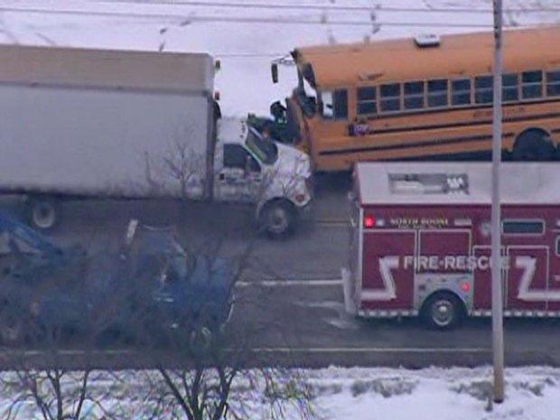 No Major Injuries in School Bus, Semi Collision