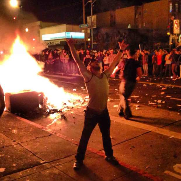 Fans Flood Streets, Light Fires Sunday Night