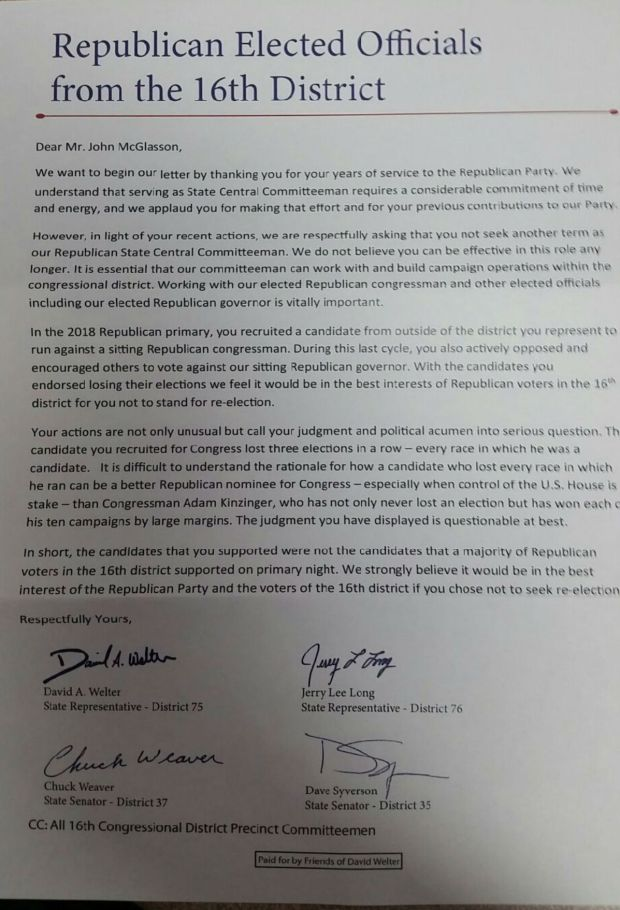 16th district letter suggests divide in illinois gop - nbc chicago