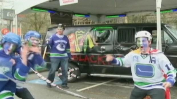 [CHI] Canucks Fans Trash Blackhawks Van