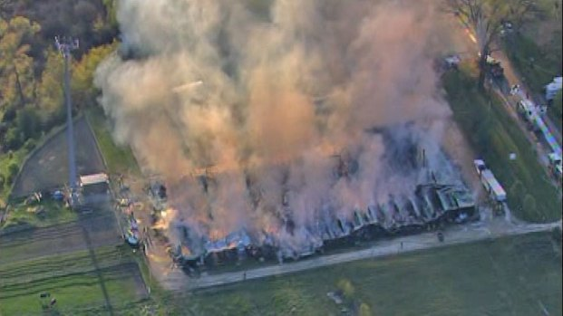 [CHI] Massive Fire Destroys Horse Stables