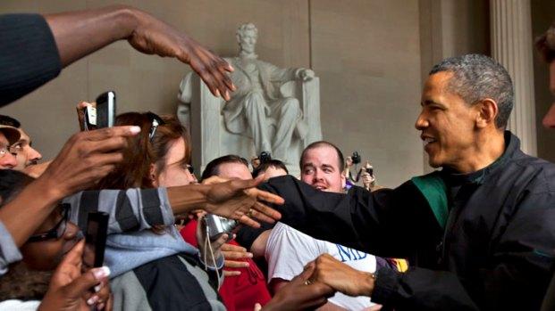 Obama Visits Lincoln