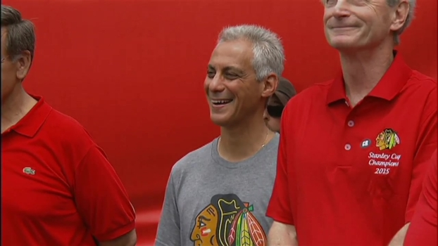 Rahm Gets Booed at Soldier Field Hawks Rally