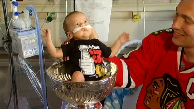 Adorable Baby Sits in Stanley Cup at Evanston Hospital