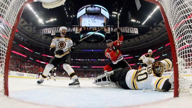 Hawks Beat Bruins in Triple OT in Game 1