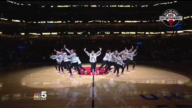 BullsKidz Show Up Matt and Cortney with Dance Moves