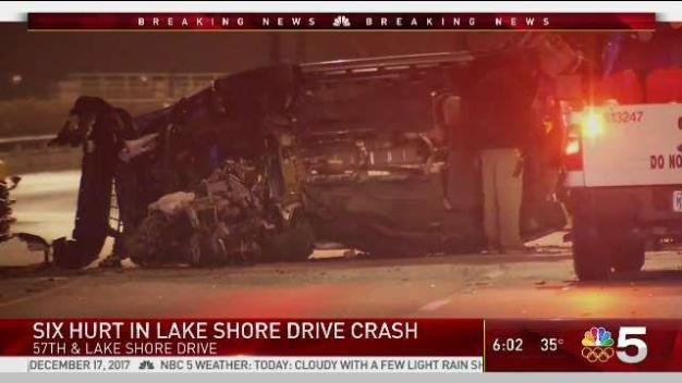 6 Hurt in Apparent Head-on Lake Shore Drive Crash