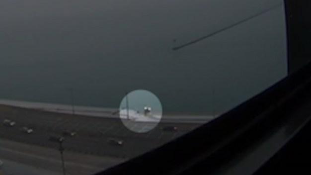 Wild Video Shows Moment Truck Slid Into Lake Michigan