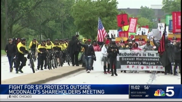 'Fight for $15' Marches on McDonald's Headquarters