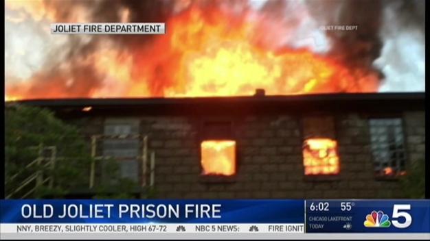 Massive Fire Burns for Hours at Iconic Old Joliet Prison
