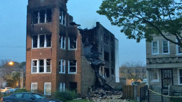 Shell of Building Remains After West Side Fire