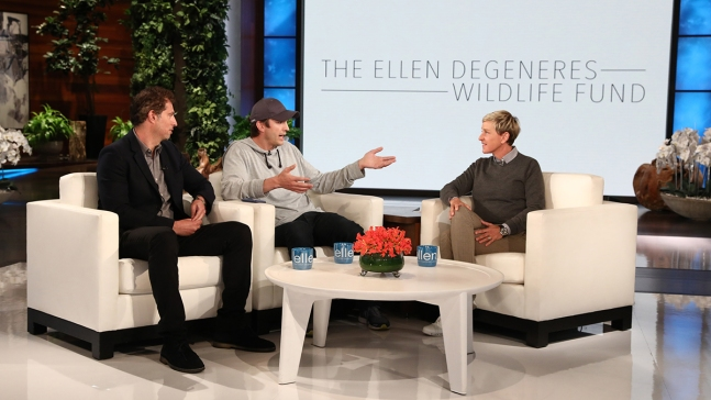Kutcher Surprises DeGeneres With $4M for Wildlife Fund