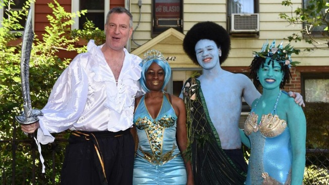 NYC First Family Goes Blue for Mermaid Parade