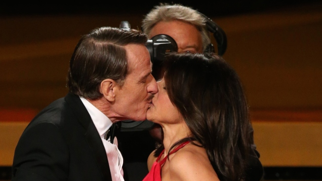 "Julia Louis-Dreyfus' Emmy Comes With a Bryan Cranston ""Seinfeld"" Makeout Session"
