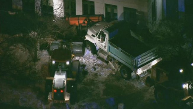 Snow Plow Crashes Into Hospital