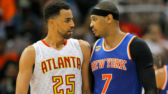 Carmelo Anthony Ejected After Hitting Hawks' Thabo Sefolosha in the Neck
