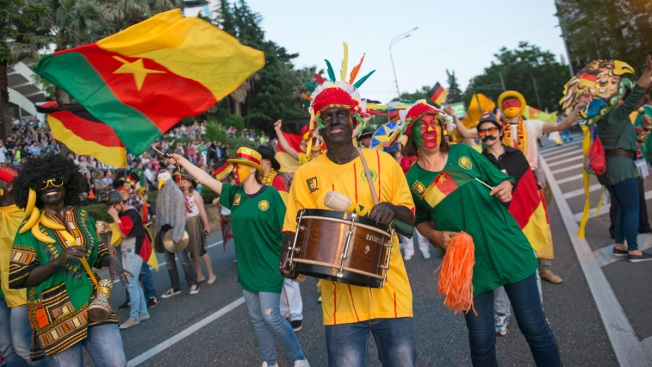 People in Blackface March in Sochi Parade Before Confed Cup