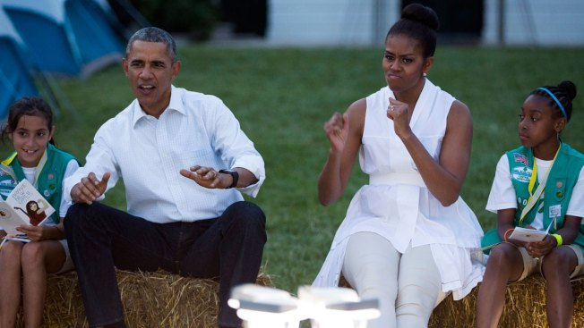Michelle Obama Hosts Girl Scout Campout on White House Lawn