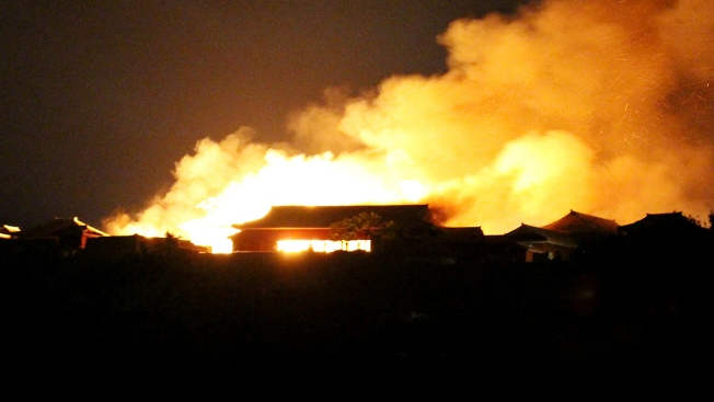 Fire Burns Down Structures at Historic Japanese Shuri Castle