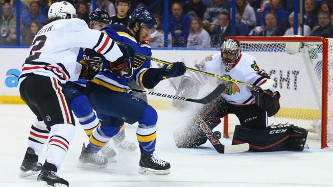 Blackhawks Beat Blues 4-3, Extend Season