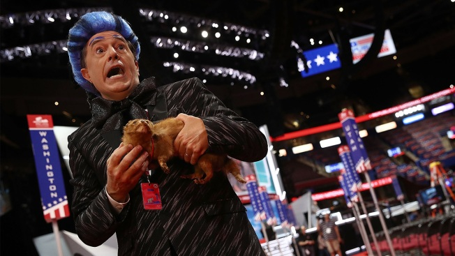 Stephen Colbert crashes RNC stage for 'Hunger Games' prank