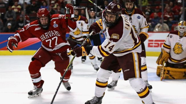 Iafallo Goal Leads Minnesota-Duluth Over Harvard in Frozen Four