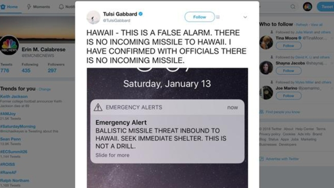 Hawaii Alert System Accidentally Warns Of Imminent 'BALLISTIC MISSILE THREAT'