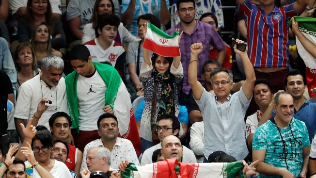 Banned at Home, Iranian Woman Attends First Volleyball Game