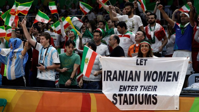Security Questions Female Iranian Fan Over Sign During Olympic Volleyball Match