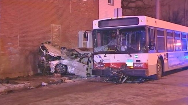 Car Hits Bus, Crashes Into Building