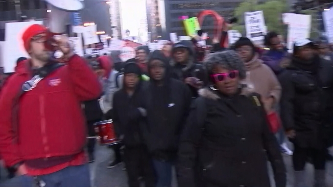 Chicago Teachers March Through Downtown Chicago