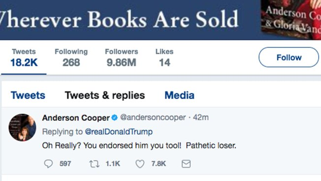 Anderson Cooper gives weird explanation for 'hacked' anti-Trump tweet