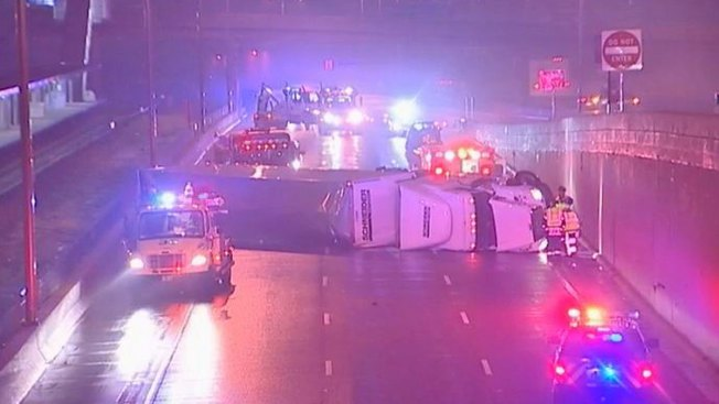 Crash Knocks Over Beer Truck on Eisenhower Expressway