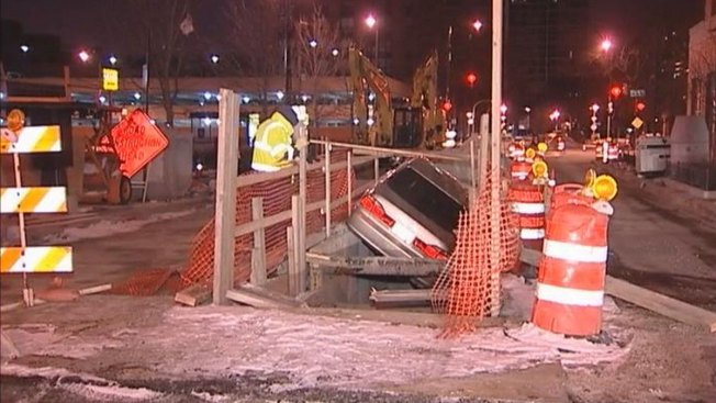 Cops Find Car in Construction Hole