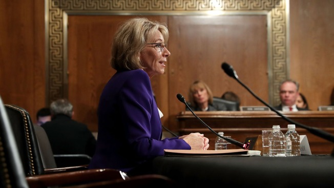 Democrats hold marathon session before DeVos vote
