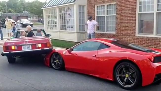 Driver Backs Into $290K Ferrari While Parking