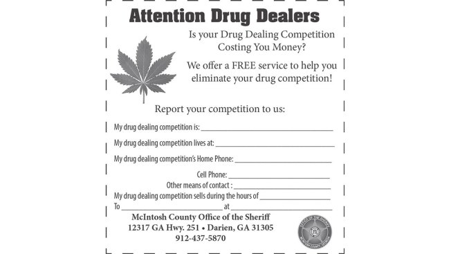Sheriff's Ad: Cops Can Handle Drug Dealers' Competition For 'Free'