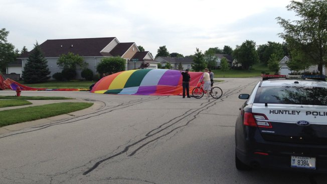 Hot Air Balloon Lands in Huntley Neighborhood