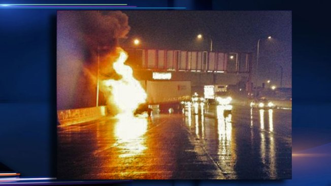 Semi Catches Fire on Kennedy Expressway