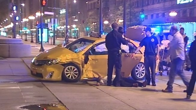 Four Injured in Loop Taxi Crash