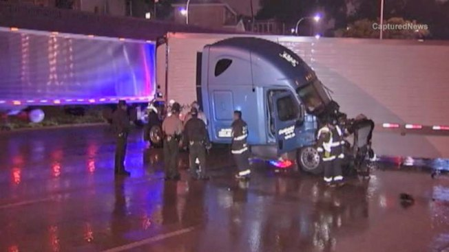 Jackknifed Semi Spills Fuel, Blocks Interstate Traffic